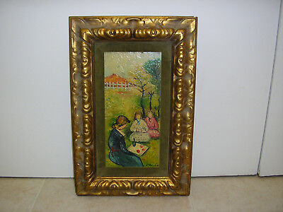 Girls Picnic w/Woman Oil Painting Original Abstract Impressionist Japanese Art
