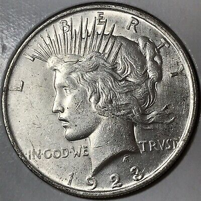 1923 Peace Silver Dollar! ABOUT UNCIRCULATED DETAILS!!! BROKEN RAY VARIETY!!!
