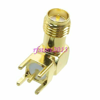 1pce Connector RP-SMA female plug solder PCB mount right angle RF COAXIAL