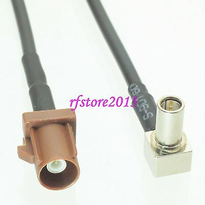 Cable RG174 6inch Fakra SMB F 8011 male plug to MS147 male 90° Pigtail Jumper