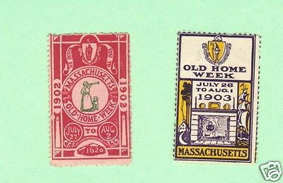 2 Poster Stamps 1902 & 1903 Old Home Week Massachusetts