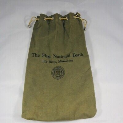 Deposit Bags Of Pittsburgh Pa New Fashion Vintage Cloth Canvas Bank Bag Large~ Integra Financial Corp