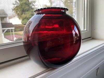Ruby Red Glass Globe Vase, Vintage, Great Condition