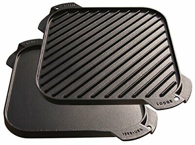 Lodge Lsrg3 Cast Iron Single-Burner Reversible Grill/Griddle, 10.5-Inch