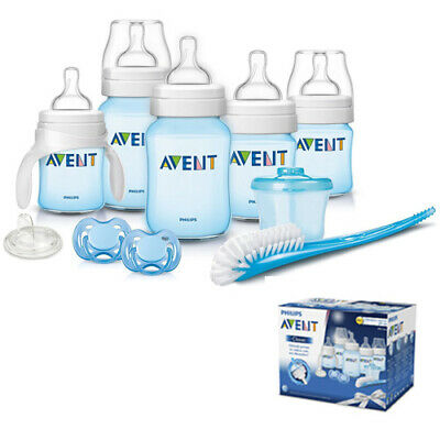 Philips Avent Classic + Blue Newborn Starter Set 4 Bottles 1 Nipple Brush 1 Paci