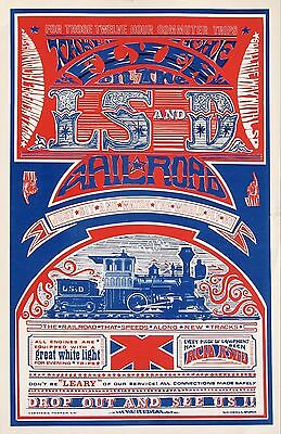 """Vintage Original """"LSD Railroad"""" Dope Poster from 1967  Run Mint Condition"""