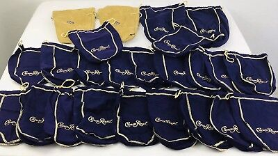 Lot Crown Royal Purple Bottle Bags Small Purple Large Purple Large Gold Suede
