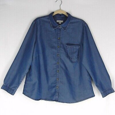 eccdcc394e7 COLDWATER CREEK Tencel Denim Shirt Top 1X 18 Button Front Blue Pocket