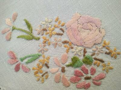 Stunning Peach Roses & Florals  Vintage Hand Embroidered Doily - Tatted edge