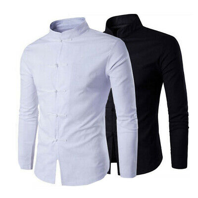 39ab39d3b49 Traditional Men s T- Shirt Men Solid Color Mandarin Collar Shirt Chinese  Style