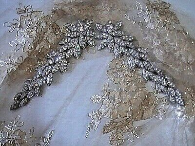 ANTIQUE EDWARDIAN RHINESTONE FLAPPER ART DEC0 DRESS BRIDAL VEIL TIARA1930's TRIM