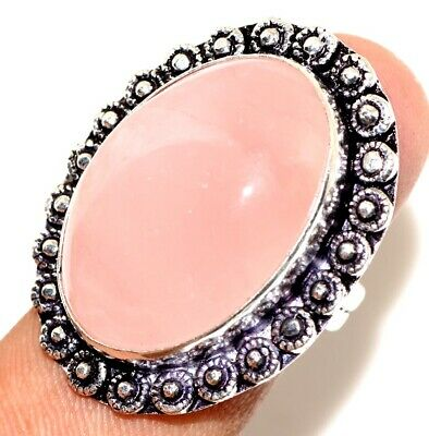A14100 Rose Quartz 925 Sterling Silver Plated Ring Us 7