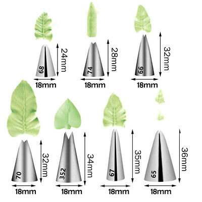 7pcs Leaves Nozzle StainlessSteel Icing Piping Nozzle Pastry Tips Pastry ToolsXM