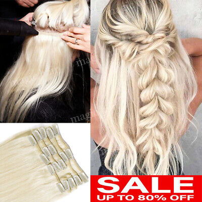 CLEARANCE Clip in 100% REAL Remy Human Hair Extensions Full Head Highlight P282