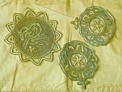 3 x Antique Ottoman Silk Embroidered Decals