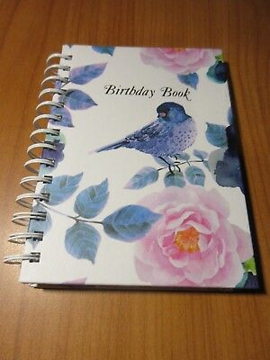 1 x FLORAL BIRD  Birthday Book Spiral 130 x 190mm Cumberland in stock (A)