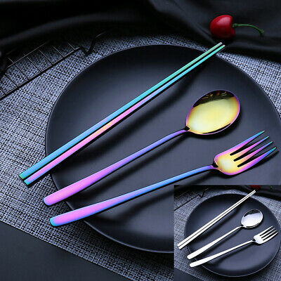 Newest Portable 304 Stainless Steel Tableware Set Spoon Chopstick and Fork 3pcs