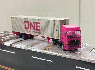 TOMYTEC N Scale Trailer Collection#9 Hino Semi Tractor & 40ft container Trailer