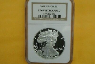 2004-W Proof Silver American Eagle PF-69 UCAM NGC