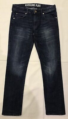 H&M Boys Extreme Flex Dark Blue Jeans With Adjustable Waist Size 11-12 Yrs