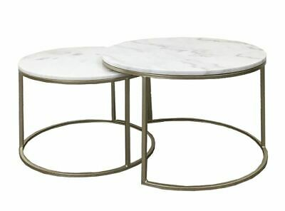 Set 2 Miles Round Metal Marble Top Side Coffee Table Furniture CHAMPAGNE 60x60CM