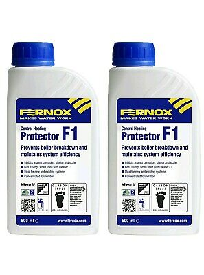 2 x Fernox F1 Central Heating Protector 500ml Prevents Boiler Breakdown
