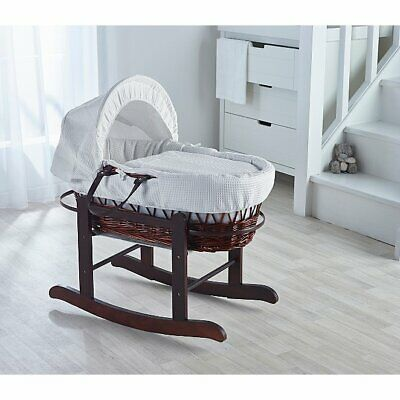 White Waffle Wicker Moses Basket and Rocking Stand Mahogany