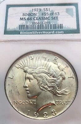 1923- U.s. Peace Silver Dollar Ngc Ms-66 Classic Set, Binion Pedigree