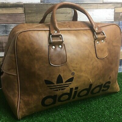 2791c1bf96f 💼Vintage Peter Black Adidas Bag - Retro 70s/80s Tan Leather Sports Holdall  RARE