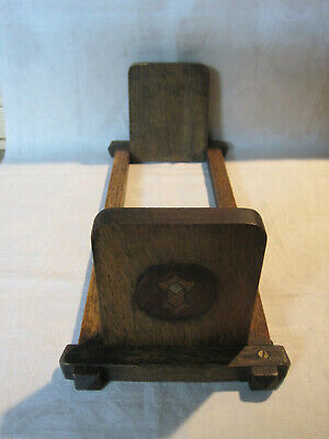 Antique vintage Arts & Crafts Mission style folding wooden bookends