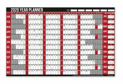 2019 Year Laminated Wall Planner Holiday Planner With Pen & Stickers Office New