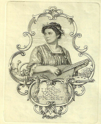 Alfred Cossmann Musik Exlibris Probst Woman w Lute Music Copper Engraving C2