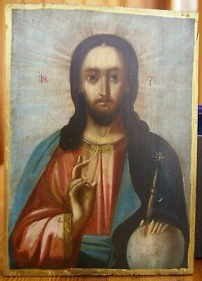 Antique Orthodox Icon Jesus Christ, on the board Hand Painted,early 20th century