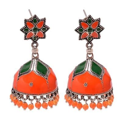 Hand Painted Afghani Color Handmade Earring 6 Cm Silver Overlay