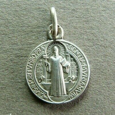 French Antique Religious Medal Saint Benedict of Nursia Pendant