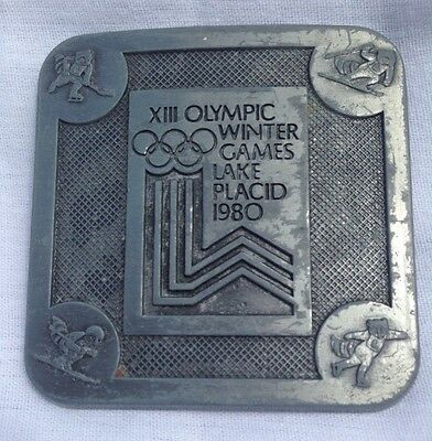 Vintage 1980 Winter Olympics Lake Placid Logo Metal Belt Buckle Made In USA