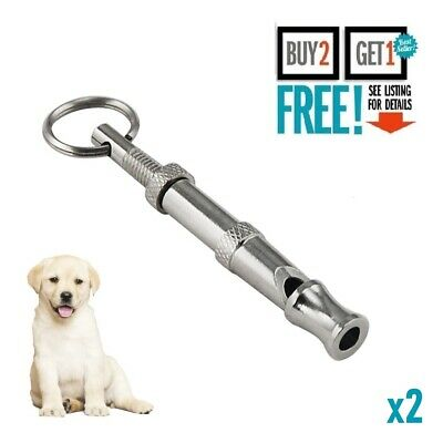 2x High Frequency Dog Whistle Adjustable Sound Key Chain Puppy Training Collie
