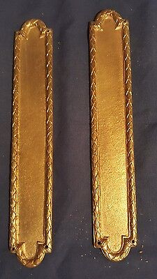 2 Antique Brass Finger Plates Push Door Handles Edged Georgian Victorian Style