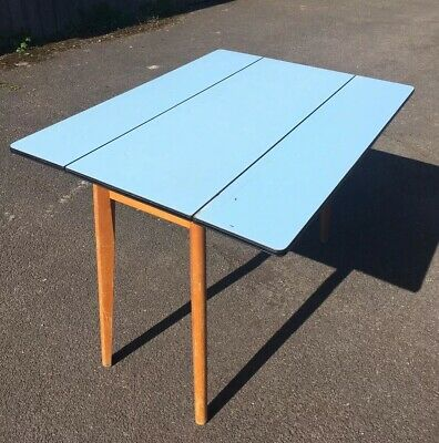 VINTAGE 1950's / 1960's Blue FORMICA TOPPED TABLE