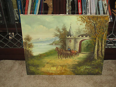 19th Century Antique Oil, Signed Adams, Horse Drawn Buggy English Countryside