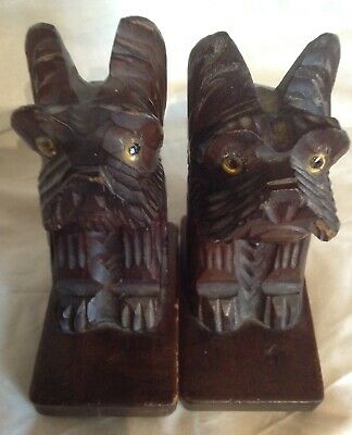 Vintage pair of Hand Carved Art Deco Stylised dog book ends with Glass eyes