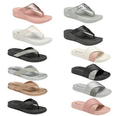 189faf4bd80e Dunlop Ladies Women Low Wedge Flip Flops Toe Post Beach Summer Sandal Soft  Shoes