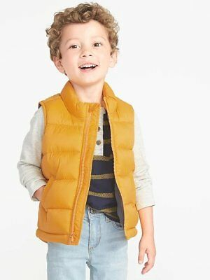 New Old Navy Toddler Boys Frost-Free Puffer Vest Squash Yellow 2t 3t 5t