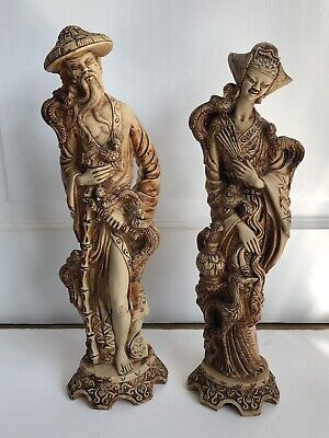 Vintage pair of Chinese/Japanese Decorative Resin Figurines 37cm Tall, Heavy