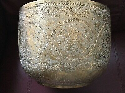 Antique Large Indo Persian Intricately Hand Etched Brass Planter