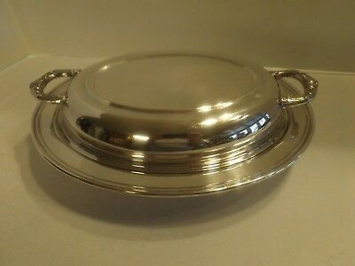 Vintage Eales 1779 Silverplate Covered Divided Glass Insert Oval Vegetable Dish