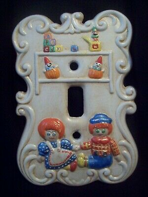 Raggedy Ann Raggedy Andy Light Switch Cover Holland Mold Handcrafted circa 1970s