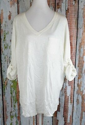 9ce1a5dcf Roaman's Knit Tunic Blouse Top Tee Shirt Tab 3/4 Sleeve VNeck White Plus 18