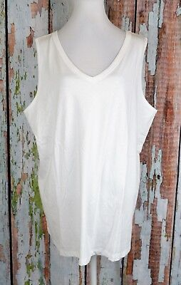 e84ceffc3 Roaman's Plus Knit Tank Top Blouse Tee Pullover Sleeveless V-Neck White  22/24