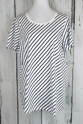 0bcee3b3a Roaman's Knit Tunic Blouse Top Tee Shirt Short Sleeve Scoop Striped Plus ...